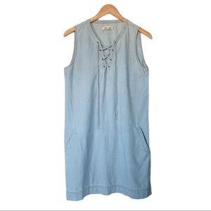Madewell denim chambray lace up sleeveless dress